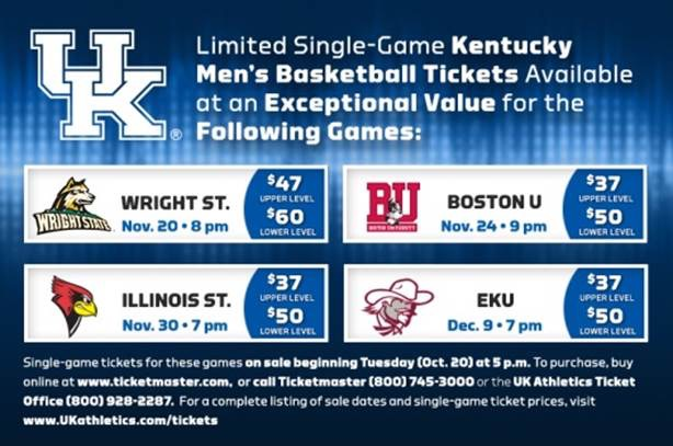 Uk Basketball Schedule: Kentucky Basketball Tickets Gallery