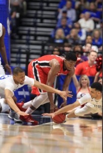 Briscoe and Jamal Murray scramble for a loose ball in the 2nd half in Kentucky's win over Georgia (Chet White/UK Athletics)