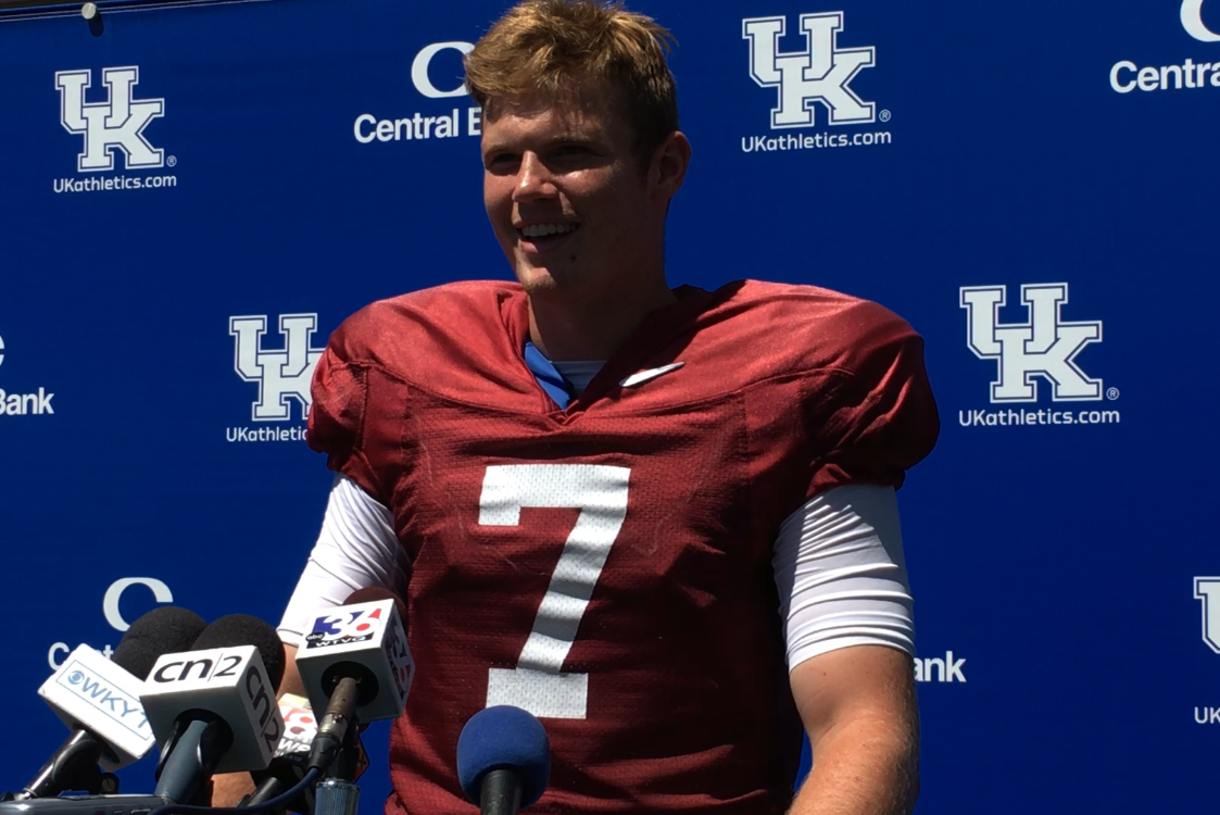 Drew Barker talking to the media on the last day of fall camp.