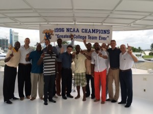 Rick Pitino and members of the '96 NCAA champs celebrate their 20th reunion on a boat in Miami (photo by Dick Gabriel)