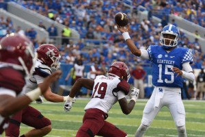 Stephen Johnson completes one of 17 passes against New Mexico State, good for 310 yards and three touchdowns (photos by Brandon Turner)