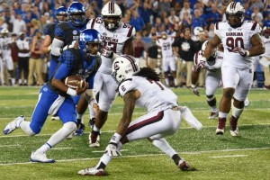 Stephen Johnson ran tothe one-yard lne late in the game, setting up UK's game-winning TD
