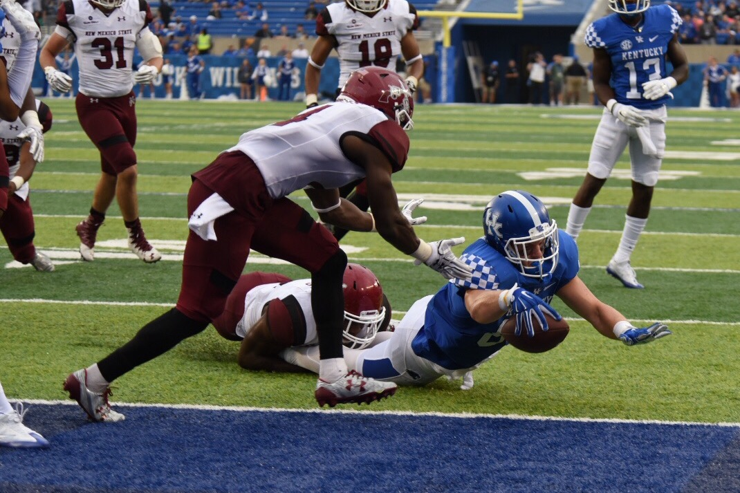 One of CJ Conrad's 3 touchdowns. Photo by Brandon Turner