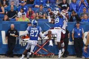Defensive back Derek Baity picks off an Aggie pass in the end zone during UK's win over New Mexico State