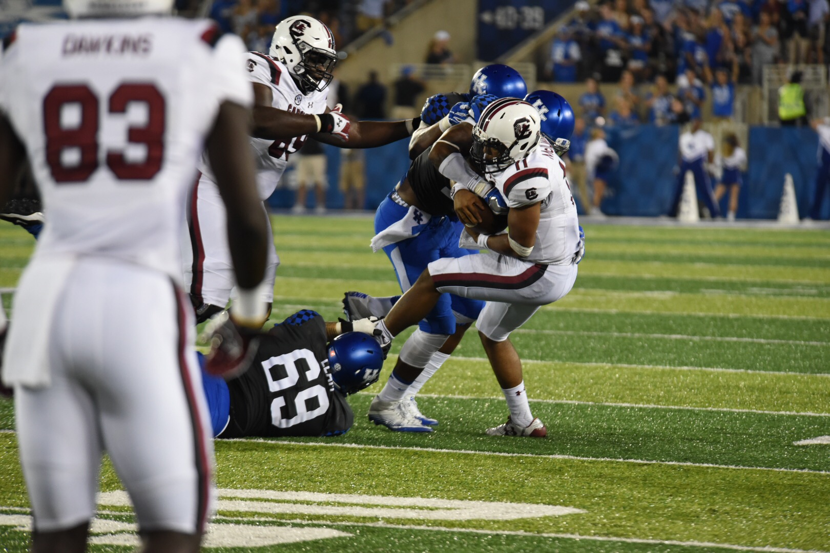 A big sack from the UK defense. Photo by Brandon Turner