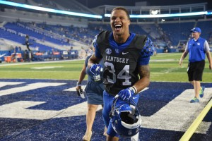 Jordan Jones celebrates after the game. photo by Brandon Turner