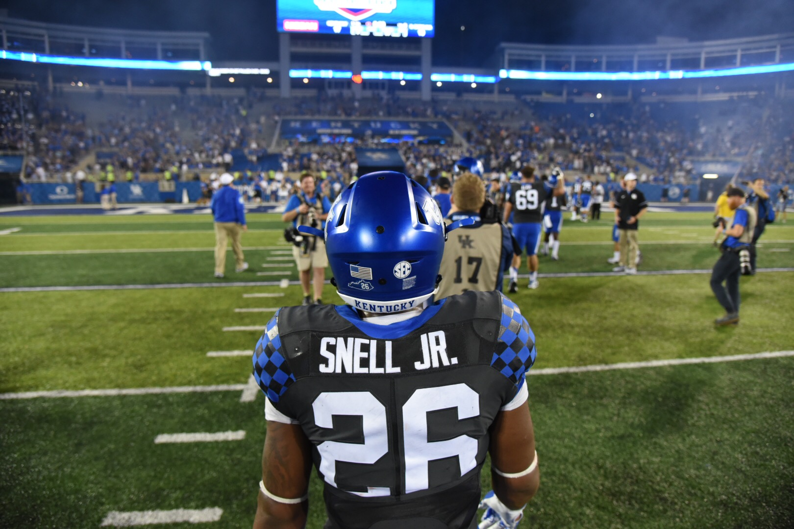Benny Snell after Kentucky's win over South Carolina. Photo by: Brandon Turner