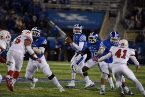 Stephen Johnson looks for a receiver in UK's win over APSU Saturday night (photos by Brandon Turner)