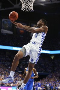 Malik Monk drives for two of his 24 points in UK's loss to UCLA (photo courtesy UK Athletics/Chet White)