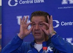 John Calipari said he doesn't want to have to be the guy who grows fangs in practice to make his team work harder. He probably doesn't want to go all bug-eyed, either (photo by Curtis Burch)