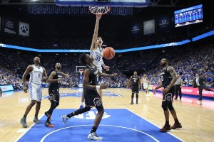 Senior forward Derek Willis throws down what his teammates say was his best dunk in the win over South Carolina (photo courtesy Chet White/UK Athletics)