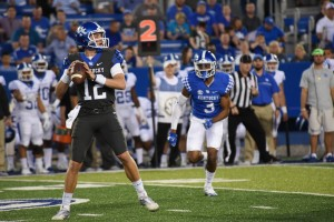 UK quarterback Gunnar Hoak drops back to pass during Friday's Blue-White game (photo by Brandon Thompson)