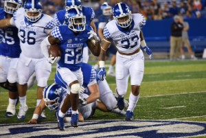 Sihiem King rushed for 103 yards for the Blue team (photo by Brandon Thompson)
