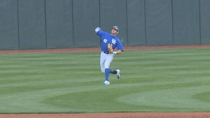 Zak Reks began the triple play sequence with his strike to home plate from left field (WKYT)