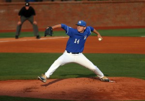 Left-hander Zach Thompson picked up the victory as Kentucky bounced back from a series loss to Georgia by beating Indiana Tuesday night in Lexington (photo UK Athletics/Britney Howard)