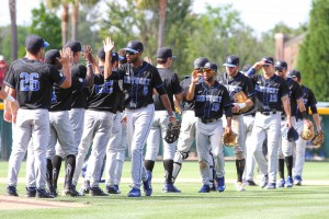 The Wildcats celebrated after their series win at South Carolina (Photo by Katie Dugan)