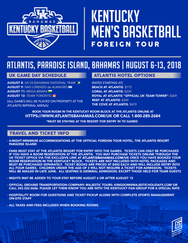 UK Men's Basketball to Return to Bahamas for Foreign Trip | Big Blue Insider