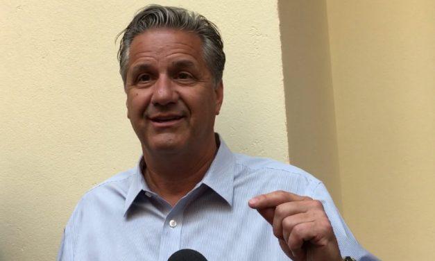 John Calipari and Reid Travis post Bahamas interviews