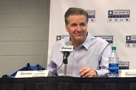 John Calipari, Tyler Herro and Keldon Johnson after North Carolina