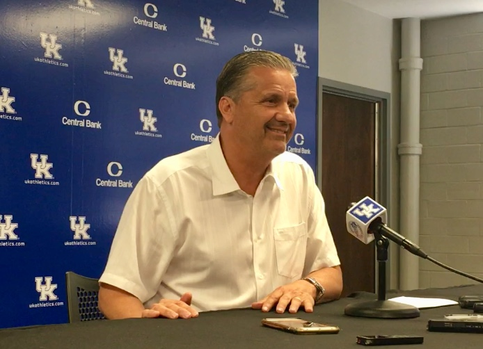 John Calipari talks to the media
