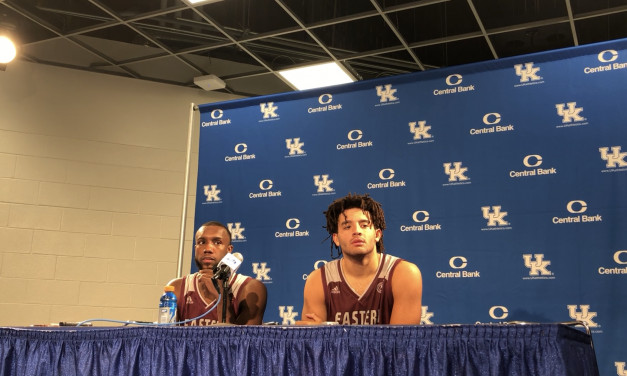 EKU Head Coach A.W. Hamilton, Forward Michael Moreno Moreno & Guard Ty Taylor Recap Loss To Kentucky