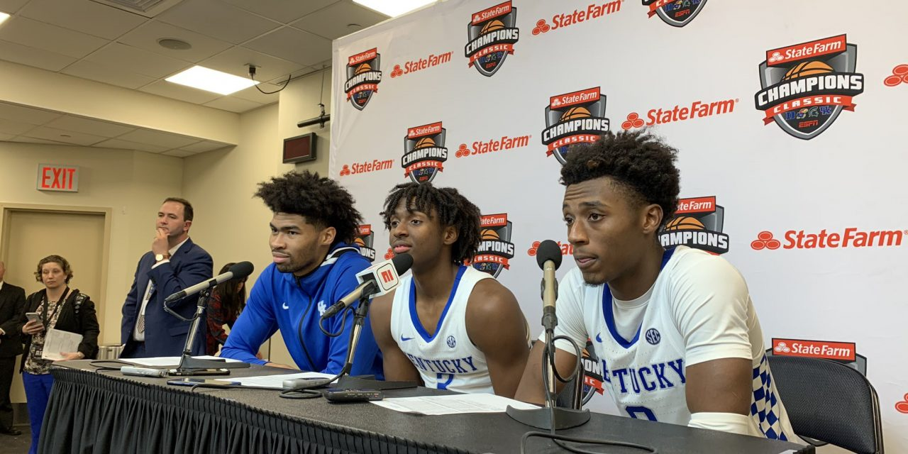 John Calipari, Ashton Hagans, Nick Richards and Tyrese Maxey Recap Victory Over No. 1 Michigan State