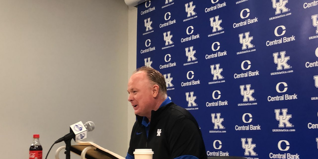 Mark Stoops meets with media to preview spring practices
