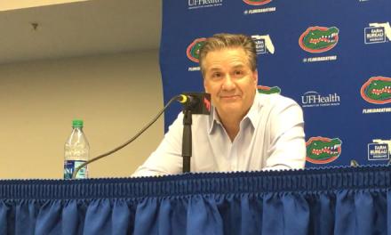 John Calipari, Keldon Johnson, Tyer Herro and Mike White post Kentucky vs Florida
