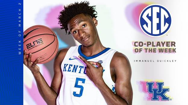 Immanuel Quickley earns second straight SEC Player of the Week Award
